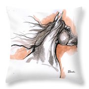 Arabian Horse Ink Drawing 3 Throw Pillow