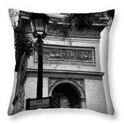 Arc De Triomphe - Black And White Throw Pillow