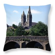 Arch Bridge Across A River With A Throw Pillow