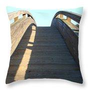 Arched Pedestrian Bridge At Martinez Regional Shoreline Park In Martinez California . 7d10526 Throw Pillow