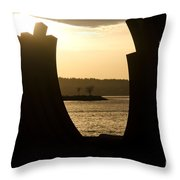 Arcs Sunset Bernar Venet Sculpture Sunset Beach Park Vancouver Bc Canada Throw Pillow