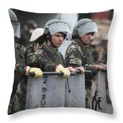 Argentine Marines Dressed In Riot Gear Throw Pillow by Stocktrek Images