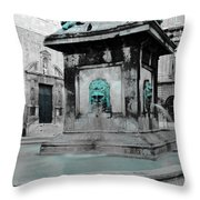 Arles Fountain With A Spot Of Color Throw Pillow