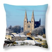 Armagh Cathedral In The Snow Throw Pillow