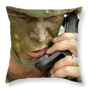 Army Master Sergeant Communicates Throw Pillow
