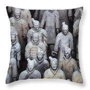 Army Of Terracotta Warriors In Xian Throw Pillow