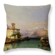 Arona And The Castle Of Angera Lake Maggiore Throw Pillow