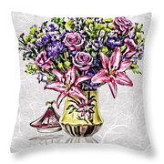 Arrangement In Pink And Purple On Rice Paper Throw Pillow