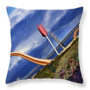 Arrow Through Bay Bridge Throw Pillow