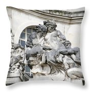 Art Gallery Statue In Cardiffs Throw Pillow