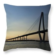 Arthur Ravenel Jr Bridge Over The Cooper River Charleston Sc Throw Pillow