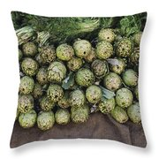 Artichokes And Greens Arranged Throw Pillow