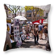 Artist Colony Of Montmartre Throw Pillow