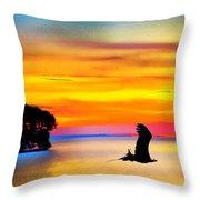 Artistic Conception Eagle Sundown Throw Pillow