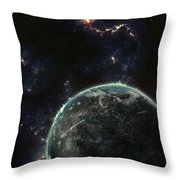 Artists Concept Of A Terrestrial Planet Throw Pillow by Tomasz Dabrowski