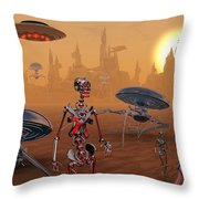 Artists Concept Of Life On Mars Long Throw Pillow