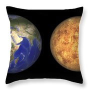Artists Concept Showing Earth And Venus Throw Pillow by Walter Myers