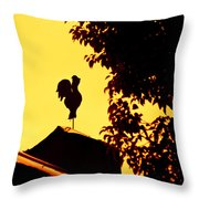 As A Rooster Crows Throw Pillow by Carolyn Marshall