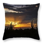 As The Sun Sets In The West  Throw Pillow