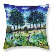 The Jolly Cemetery Throw Pillow