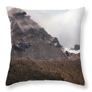 Ash And Gas Rising From Lava Dome Throw Pillow by Richard Roscoe