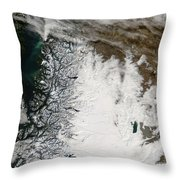Ash Plume From Chaiten Volcano And Snow Throw Pillow
