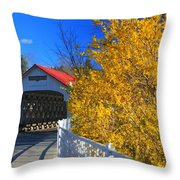 Ashuelot Covered Bridge And Forsythia Throw Pillow
