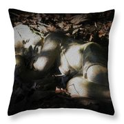 Asleep In The Leaves Throw Pillow