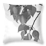 Aspen Leaves In Black And White Throw Pillow
