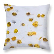 Aspen Leaves In The Snow Throw Pillow