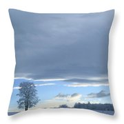 Aspen Tree And Winter Clouds Throw Pillow