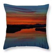 Assateague Bayside Sunset Throw Pillow