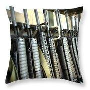 Assault Rifles Stand Ready Throw Pillow