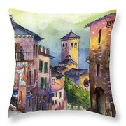 Assisi Street Scene Throw Pillow by Lydia Irving