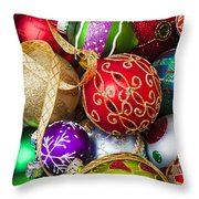 Assorted Beautiful Ornaments Throw Pillow by Garry Gay