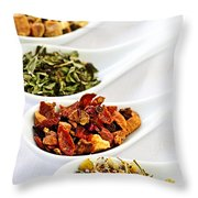 Assorted Herbal Wellness Dry Tea In Spoons Throw Pillow