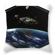 Asteroid Golf Throw Pillow