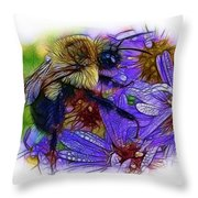Asters With Dew And Bumblebee Throw Pillow