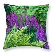 Astilbe And Ferns Throw Pillow