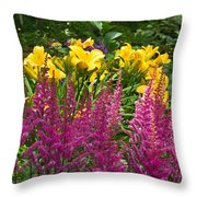Astilbe And Lilies Throw Pillow