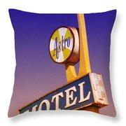 Astro Motel Retro Sign Throw Pillow