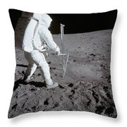 Astronaut During Apollo 11 Throw Pillow