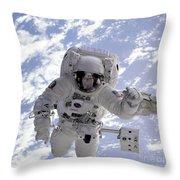 Astronaut Gernhardt On Robot Arm Throw Pillow