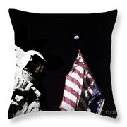 Astronaut Stands Next To The American Throw Pillow