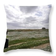 At Lachish Anemone Fields Throw Pillow