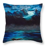 At Play Under The Glacier Throw Pillow