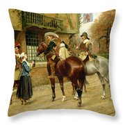 At The Red Inn Throw Pillow