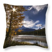Athabasca River With Mount Fryatt Throw Pillow