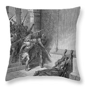 Athaliah (d. 836 B.c.). /nqueen Of Judah, C842-836 B.c. The Death Of Athaliah (ii Chronicles 22:10, 23:15). Wood Engraving, 19th Century, After Gustave Dor� Throw Pillow