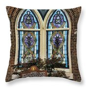 Athens Alabama First Presbyterian Church Stained Glass Window Throw Pillow